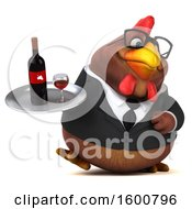 Poster, Art Print Of 3d Brown Business Chicken Holding Wine On A White Background