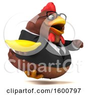 Poster, Art Print Of 3d Brown Business Chicken Holding A Banana On A White Background