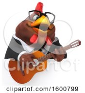 Poster, Art Print Of 3d Brown Business Chicken Playing A Guitar On A White Background