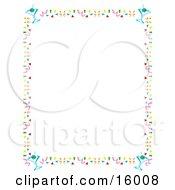 Stationery Border Of Confetti And Martini Glasses Clipart Illustration