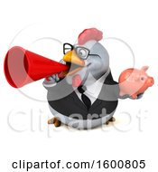 Poster, Art Print Of 3d White Business Chicken Holding A Piggy Bank On A White Background