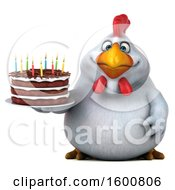 Poster, Art Print Of 3d White Chicken Holding A Birthday Cake On A White Background