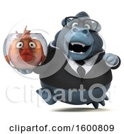 Clipart Of A 3d Business Gorilla Holding A Fish Bowl On A White Background Royalty Free Illustration