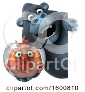 Clipart Of A 3d Gorilla Holding A Fish Bowl On A White Background Royalty Free Illustration