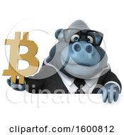 Clipart Of A 3d Business Gorilla Holding A Bitcoin Symbol On A White Background Royalty Free Illustration by Julos