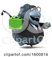 Clipart Of A 3d Business Gorilla Holding A Gas Can On A White Background Royalty Free Illustration by Julos