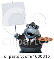 Clipart Of A 3d Business Gorilla Holding A Pizza On A White Background Royalty Free Illustration