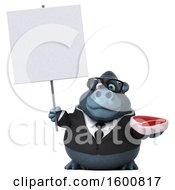 Clipart Of A 3d Business Gorilla Holding A Steak On A White Background Royalty Free Illustration by Julos