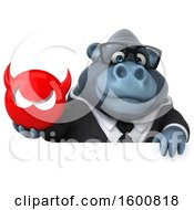 Clipart Of A 3d Business Gorilla Holding A Devil On A White Background Royalty Free Illustration