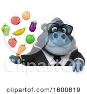 Clipart Of A 3d Business Gorilla Holding Produce On A White Background Royalty Free Illustration