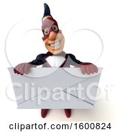 Clipart Of A 3d Buff White Male Blue And Maroon Super Hero Holding A Giant Envelope On A White Background Royalty Free Illustration