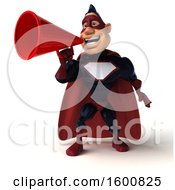 Clipart Of A 3d Buff White Male Blue And Maroon Super Hero Using A Megaphone On A White Background Royalty Free Illustration