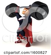 Clipart Of A 3d Buff White Male Blue And Maroon Super Hero Lifting A Barbell On A White Background Royalty Free Illustration