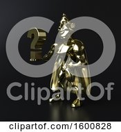July 16th, 2018: Clipart Of A 3d Gold Super Hero Holding A Question Mark On Black Royalty Free Illustration by Julos