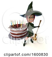 Clipart Of A 3d Sexy Green Witch Holding A Birthday Cake On A White Background Royalty Free Illustration by Julos