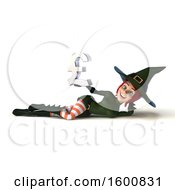 Clipart Of A 3d Sexy Green Witch Holding A Pound Currency Symbol On A White Background Royalty Free Illustration by Julos