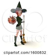 July 16th, 2018: Clipart Of A 3d Sexy Green Witch Holding A Fish Bowl On A White Background Royalty Free Illustration by Julos