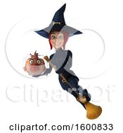 Clipart Of A 3d Sexy Blue Witch Holding A Fish Bowl On A White Background Royalty Free Illustration by Julos