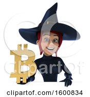 Clipart Of A 3d Sexy Blue Witch Holding A Bitcoin Symbol On A White Background Royalty Free Illustration by Julos