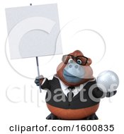 3d Business Orangutan Monkey Holding A Golf Ball On A White Background