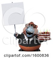 July 16th, 2018: Clipart Of A 3d Business Orangutan Monkey Holding A Birthday Cake On A White Background Royalty Free Illustration by Julos