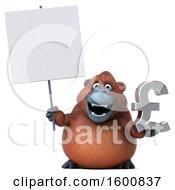 Clipart Of A 3d Orangutan Monkey Holding A Pound Currency Symbol On A White Background Royalty Free Illustration