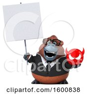 Clipart Of A 3d Business Orangutan Monkey Holding A Devil On A White Background Royalty Free Illustration