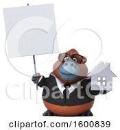 Clipart Of A 3d Business Orangutan Monkey Holding A House On A White Background Royalty Free Illustration by Julos