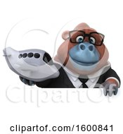 Clipart Of A 3d Business Orangutan Monkey Holding A Plane On A White Background Royalty Free Illustration