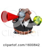 Clipart Of A 3d Business Orangutan Monkey Holding A Globe On A White Background Royalty Free Illustration by Julos