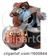 Clipart Of A 3d Business Orangutan Monkey Holding A Fish Bowl On A White Background Royalty Free Illustration by Julos