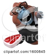 Clipart Of A 3d Business Orangutan Monkey Holding A Steak On A White Background Royalty Free Illustration