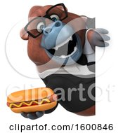 Clipart Of A 3d Business Orangutan Monkey Holding A Hot Dog On A White Background Royalty Free Illustration