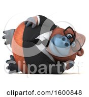 Clipart Of A 3d Business Orangutan Monkey Resting On His Side On A White Background Royalty Free Illustration by Julos