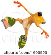3d Yellow Frog Roller Blading On A White Background