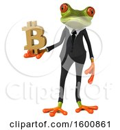 3d Green Business Frog Holding A Bitcoin Symbol On A White Background