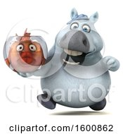 3d Chubby White Horse Holding A Fish Bowl On A White Background