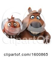July 16th, 2018: Clipart Of A 3d Chubby Brown Horse Holding A Fish Bowl On A White Background Royalty Free Illustration by Julos