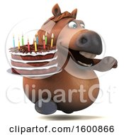 July 16th, 2018: Clipart Of A 3d Chubby Brown Horse Holding A Birthday Cake On A White Background Royalty Free Illustration by Julos