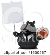 July 16th, 2018: Clipart Of A 3d Chubby Black Business Horse Holding A Fish Bowl On A White Background Royalty Free Illustration by Julos