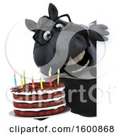 July 16th, 2018: Clipart Of A 3d Chubby Black Business Horse Holding A Birthday Cake On A White Background Royalty Free Illustration by Julos
