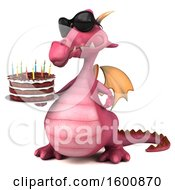 July 16th, 2018: Clipart Of A 3d Pink Dragon Holding A Birthday Cake On A White Background Royalty Free Illustration by Julos