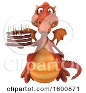 July 16th, 2018: Clipart Of A 3d Red Dragon Holding A Birthday Cake On A White Background Royalty Free Illustration by Julos