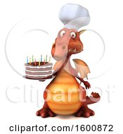 July 16th, 2018: Clipart Of A 3d Red Chef Dragon Holding A Birthday Cake On A White Background Royalty Free Illustration by Julos