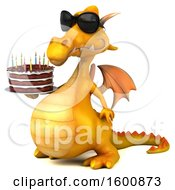 July 16th, 2018: Clipart Of A 3d Yellow Dragon Holding A Birthday Cake On A White Background Royalty Free Illustration by Julos
