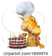 July 16th, 2018: Clipart Of A 3d Yellow Chef Dragon Holding A Birthday Cake On A White Background Royalty Free Illustration by Julos