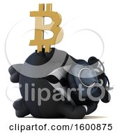 Clipart Of A 3d Black Business Bull Holding A Bitcoin Symbol On A White Background Royalty Free Illustration by Julos