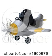 Clipart Of A 3d Black Bull Flying A Plane On A White Background Royalty Free Illustration by Julos
