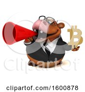 Clipart Of A 3d Brown Business Cow Holding A Bitcoin Symbol On A White Background Royalty Free Illustration by Julos