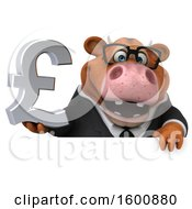 Clipart Of A 3d Brown Business Cow Holding A Pound Currency Symbol On A White Background Royalty Free Illustration by Julos